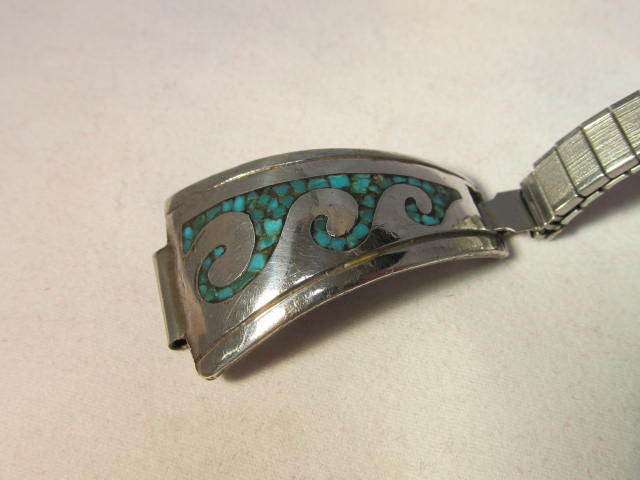 Vintage Native American Turquoise Sterling Watch Band
