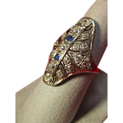 14K Art Deco Diamond and Sapphire Ring