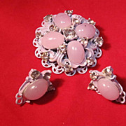 Mauve Brooch and Earring set