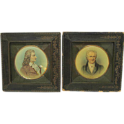Antique Pair Miniature Framed Portraits