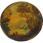 Miniature Painting on  Burl Wood Snuff Box