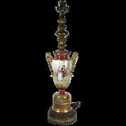 Antique Vienna Style  Porcelain Vase/Lamp