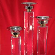 Tall Set of Lucite Candlesticks
