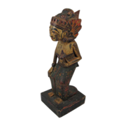 Antique Wood Figure of  Lady with Flower