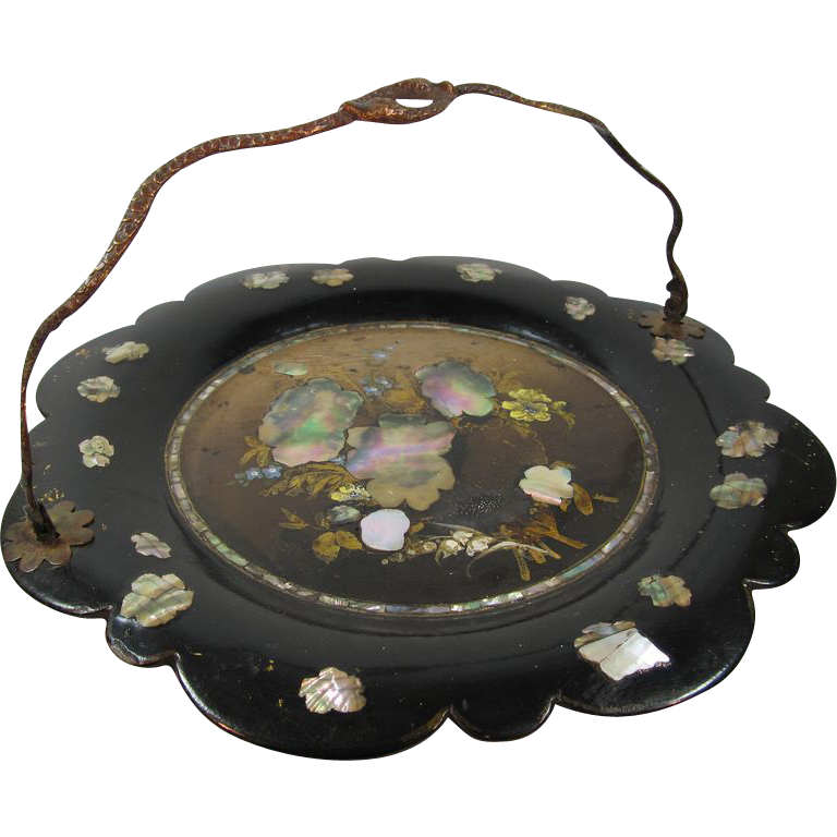 antique papier mache tray by jennes bettridge from thesteffencollection on ruby lane. Black Bedroom Furniture Sets. Home Design Ideas