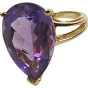 Amethyst 10 K Gold Ring