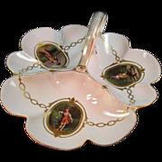Old Paris  Porcelain Trefoil Dish