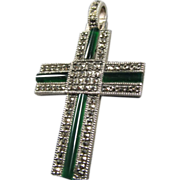 Marcasite Chrysoprase Sterling Cross