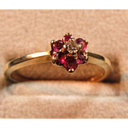 Ruby/Diamond 10 kt Gold Ring