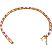 Faux Ruby and Diamond Vermeil Bracelet