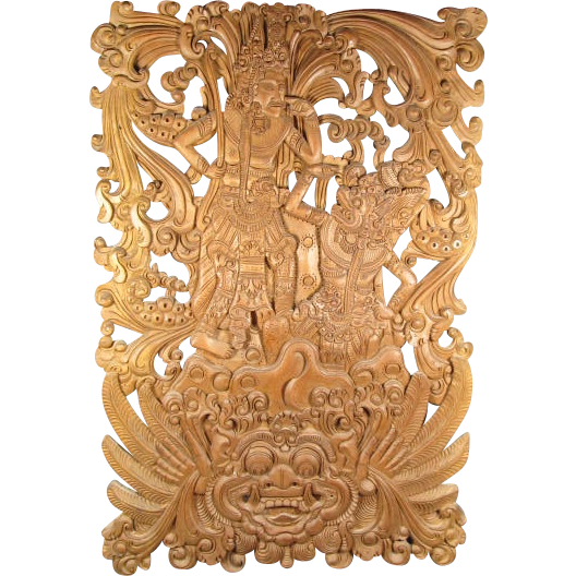 Bali carved wood panel sold on ruby lane