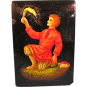 Lacquer box with allegorical Russian scene