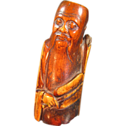 Antique Oriental Bone Carving of a Man with Fan