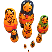 Set of Eight Russian Nesting Dolls - Red Tag Sale Item