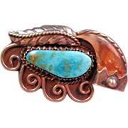 Turquoise and Claw Native American Style Ring.