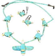 Turquoise Carved  Eagle Jewelry Suite