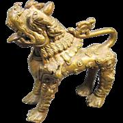 Old Asian  Brass Dog-Lion Figure