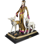 "Art Deco Style Lady with two Borzoi  ""Ester """