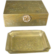 Chinese Brass Box and Pin Tray