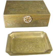 Chinese Brass Box and Pin Tray