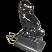 Antique Black Jackfield Staffordshire Dog Lamp