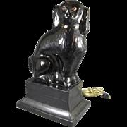 Antique Black [ Jackfield ] Staffordshire Dog Lamp