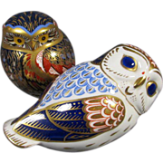 Pair Royal Crown Derby Porcelain Owls