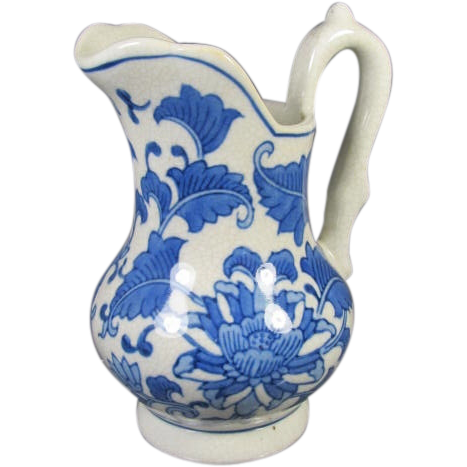 Ceramic Blue And White Pitcher From Thesteffencollection