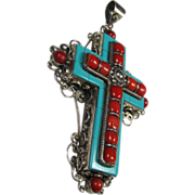 Fantastic Sterling Coral and Turquoise Cross Pendant