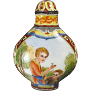 Chinese Copper Enameled Snuff Bottle Signed