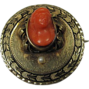 Antique Gold and Coral Pendant/Brooch