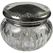 Large Antique Sterling/Crystal Dresser Jar