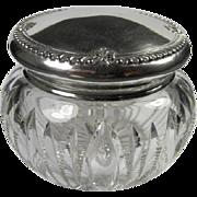 Large Antique Sterling/Crystal Dresser Jar