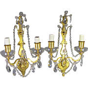 Gilt Bronze 2 lite Sconces by Sterling Bronze Co.