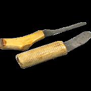 Pair Antique Carved Antler Horn Knifes
