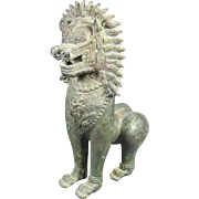 Antique Asian Male Guardian Lion / Foo Dog