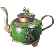 Chinese Enamel/Plated Tea Pot