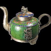 Chinese Enamel/Plated Tea Pot