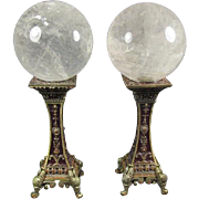 Pair of Quartz Spheres on Metal Stands