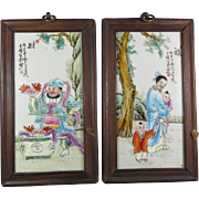 Pair Chinese Enameled Porcelain Tiles