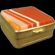 Gilt Brass Agate Pill Box