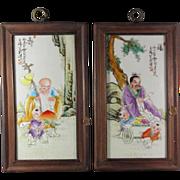 Pair Chinese Enameled Porcelain Tiles