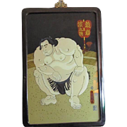 Reverse Painting on Glass of Sumo Wrestler