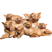 Large Carved Pig Sculpture/Figurine