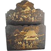 Antique Japanese Style Papier- Mache Wall Pocket