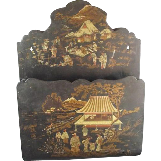 antique japanese style papier mache wall pocket from thesteffencollection on ruby lane. Black Bedroom Furniture Sets. Home Design Ideas