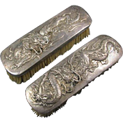 Pair Chinese Silver Dragon Clothes Brushes