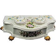 Old Italian Porcelain Double Ink Well