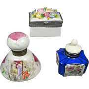 Trio of Old Porcelain Ink Wells
