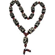 Chinese Beaded Prayer Necklace  Dzi-Type